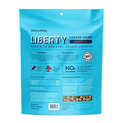 Buckley Liberty Freeze Dried Dog Food/Food Topper and Mixer, Beef, 10 Ounce