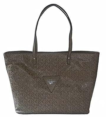 Guess Signature Embossed Liberate Tote Bag Handbag Purse Taupe