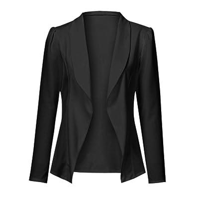 Abrigo Elegante de Manga Larga para Mujer, Color sólido, Chaqueta de Traje Casual para OL, Boda, Royal Ascot, UK Fashion Plus Talla S-2XL: Ropa y accesorios