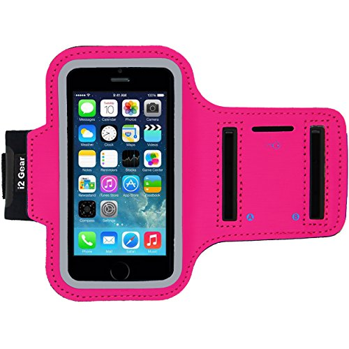 (Running and Exercise Workout Armband Case for iPhone 5 5S 5C SE and iPhone 4 4S Mobile Cell Phones with Adjustable Sport Band, Reflective Border, Touch Screen Protection and Key Holder (Hot Pink))
