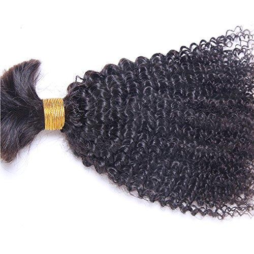 Hesperis Human Braiding Hair Bulk No Weft Afro Kinky Bulk Hair For Braiding Mongolian Afro Kinky Curly Crochet Braids Micro Braiding Hair 100g Per Bundle (18inch) ()