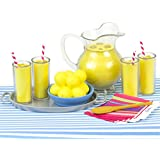 Lemonade Doll Food Play Specialty Serving Set, Includes Doll Pitcher, Doll Serving Tray, Bowl of Lemons, 4 Lemonade Drinks, 4 Napkins, Wood Serving Spoon & Table Runner. For 18 Inch Dolls Items