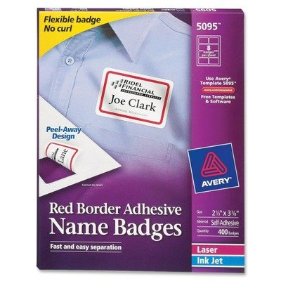 AVE5095 - Avery Flexible Self-Adhesive Laser/Inkjet Name Badge ()