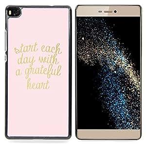 /Skull Market/ - Gold Pink Text Heart Motivational Text For HUAWEI P8 - Mano cubierta de la caja pintada de encargo de lujo -