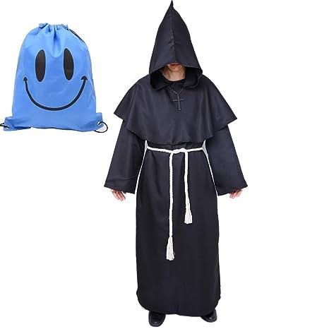 Disfraz de Monje Sacerdote Túnica Medieval Renacimiento Traje con Cruz para Halloween Carnaval (M, Negro)