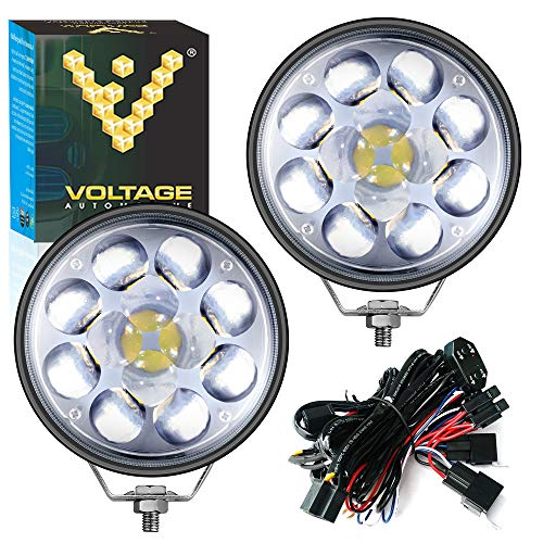 (Voltage Automotive 5 Inch 36W Round LED Pods Work Light with 4D Fisheye Lens Spot Light Dual Beam High Low Beam 8000K - 2 Pack with 12V High Low Beam Wiring Harness )