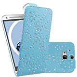 iTALKonline HTC One M8 (2014) One M8S (2015) Blue Bling Flower Diamond Leaf PU Leather Executive Multi-Function Vertical Flip Wallet Case Cover