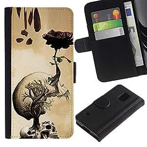 Billetera de Cuero Caso Titular de la tarjeta Carcasa Funda para Samsung Galaxy S5 V SM-G900 / Skulls Brain Roots Art Drawing / STRONG