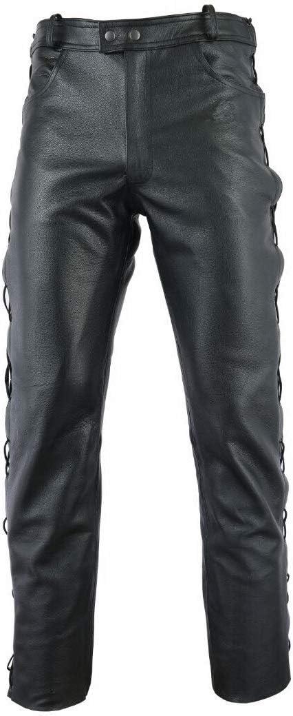 Gaudi-Leathers Pantalones de Cuero - Pantalones de Moto - Muy Bueno, 100% Cuero genuin - con Cordones Laterales Racewear – Negro 34