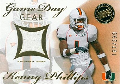 2008 Miami Hurricanes Football - Kenny Phillips player worn jersey patch football card (Miami Hurricanes) 2008 Press Pass Game Day Gear #GDGKP LE 167/299