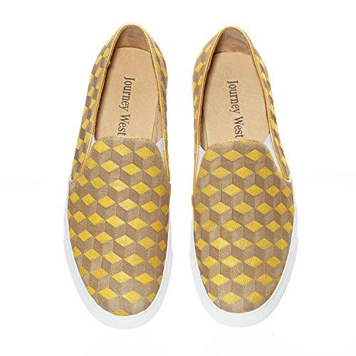 Resa Väster Kvinna Häst Päls Laser Carving Slip-on Sneaker Slip-on Loafer Tillfälliga Loafers Mode Sneaker Gul / Vine Red En Gul