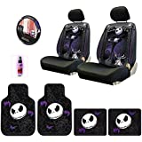 New Design 10 Pieces Nightmare Before Christmas Jack Skellington Car Truck SUV Seat Covers Rubber Front and Rear Floor Mat Set with Travel Size Purple Slice