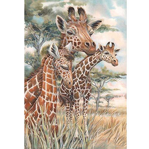 (DIY 5D Diamond Painting Full Round Drill Kit Rhinestone Picture Art Craft for Home Wall Decor 12x16In Three Giraffes)