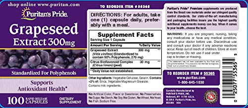Puritan's Pride Grapeseed Extract 300 mg-100 Capsules