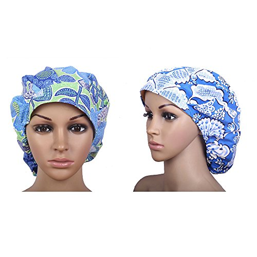QiaTi Women Scrub Cap With Sweatband Adjustable Hat Print Bouffant (2Pcs #6)