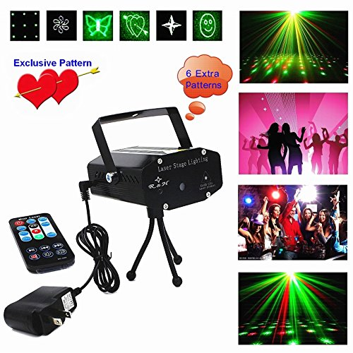 Mini Laser Stage (Disco Laser LED Projector Stage Lights Mini Auto Flash RGB Led Stage Lights Sound Activated for DJ Disco Party Home Show Birthday Party Wedding Stage Lighting Lights with Remote Control)