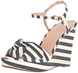 Kate Spade New York Women's Janae Wedge Sandal, Black/Cream Striped Canvas, 7.5 Medium US
