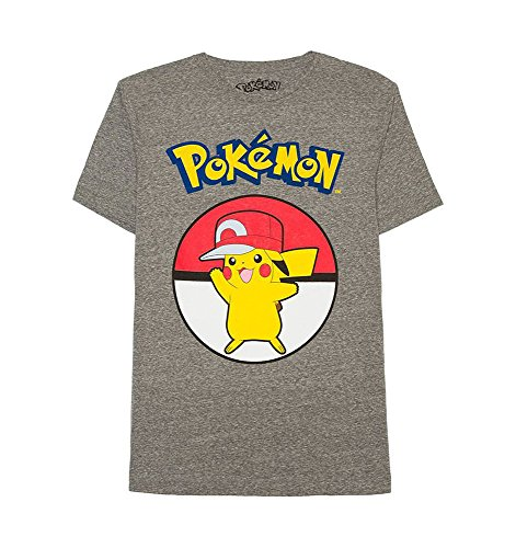 - Pokemon Pikachu in Ash's Hat Men's T-Shirt, Dark Gray Heather (XX-Large)