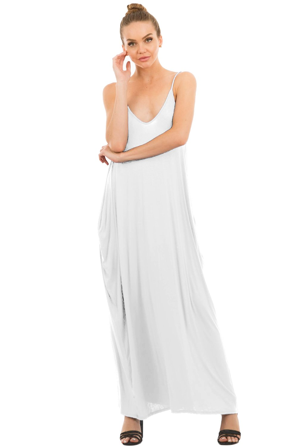 Love In D5883 Full-Length Harem Spaghetti Strap Maxi Dress with Pockets White S