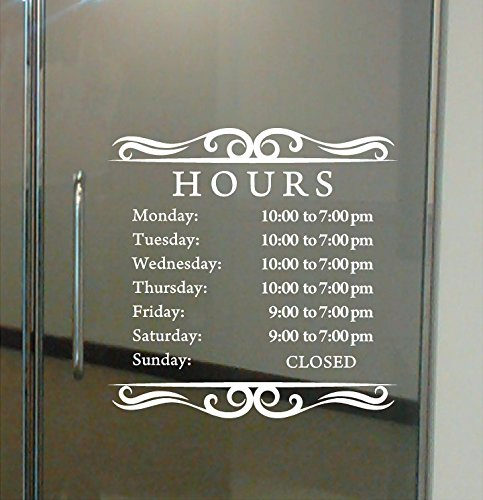 Custom Business Hours Sign for Glass Door, Windows, Smooth Surfaces. Hours of Operation Sign. Open - Closed Store Hours Sign. (12