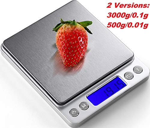 Digital Kitchen Scale, 500g/ 0.01g Mini Pocket Jewelry Scale, Electric Scale for kitchen, 2 Trays, 6 Units, Auto Off, Tare, PCS Function, Stainless Steel, Batteries Included