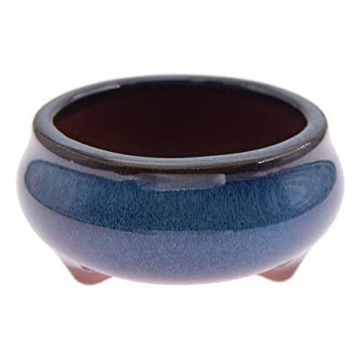 KOZOREN Chinese Bonsai Pot Oval Glazed Flower Pot Planter Home Garden Decor/Mini Ceramic Pots, E: Garden & Outdoor