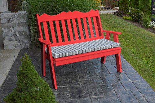 (Furniture Barn USA Outdoor Poly 4 Foot Royal English Garden Bench - Bright Red)