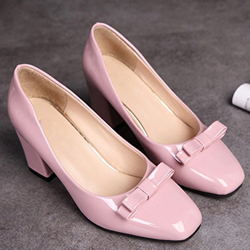 COOLCEPT Mujer Clasico Sin Cordones Tacon alto Bombas Zapatos With Bowknot Rosado