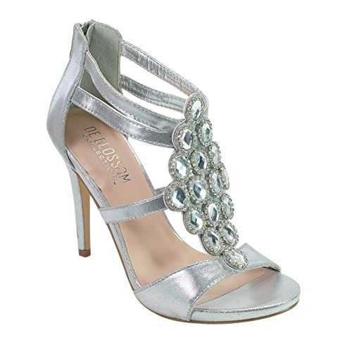 De Blossom Collection Adult Silver Bejeweled Heeled Stylish Sandals 6.5 - Pumps Bejeweled