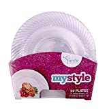 Mystyle Collection, 50 Pack Clear Swirl Plate Combo (Includes 25-7.5