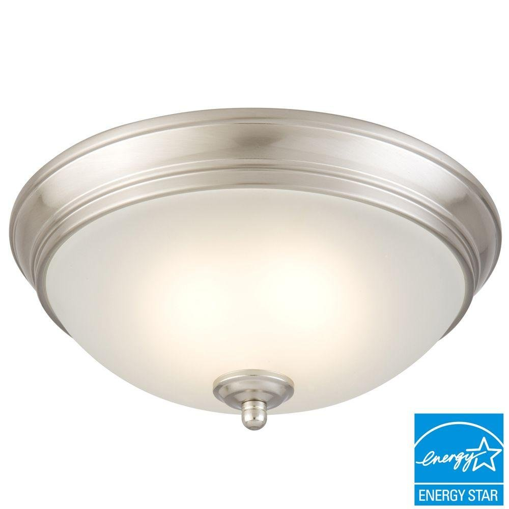 Commercial electric twin pack 2 light brushed nickel flushmount commercial electric twin pack 2 light brushed nickel flushmount close to ceiling light fixtures amazon aloadofball Images