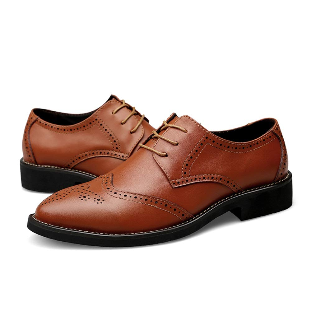 Gobling Mens British Style Brogues Shoes Handcrafted Perforated Breathable Oxfords Wingtip Lace Up Dress Shoes
