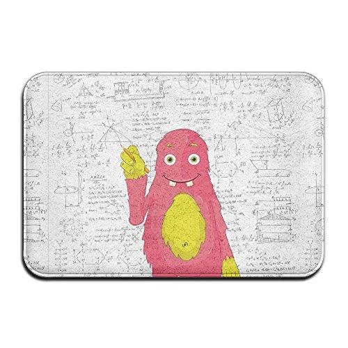 Doormat Entrance Funny Smart Monster Doing Math On Wall Science Nerds Comic Illustration Non-slip Doormat 23.6