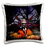 WhiteOak Art Designs Halloween - Fairy Witch sitting on pumpkins for Halloween - 16x16 inch Pillow Case (pc_63295_1)