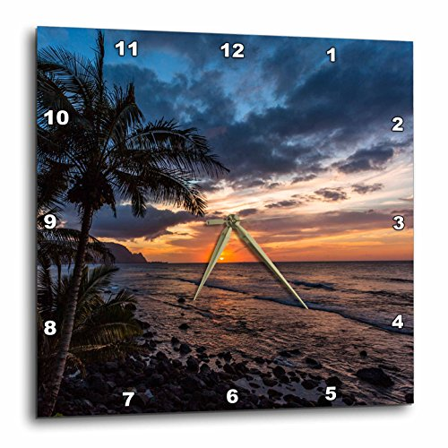 3dRose Beautiful Sunset in Hawaii - Wall Clock, 10 by 10-inch (DPP_206322_1) by 3dRose