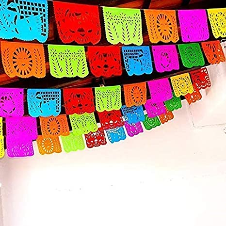 Amazon Com 5 Pk Mexican Fiesta Decorations Papel Picado Banner 60
