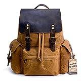 SUVOM Vintage Canvas Leather Laptop Backpack for Men School Bag 15.6