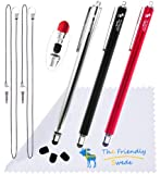 """Bundle of 3PCS Premium Branded 5.5"""" Thin-Tip High Precision Universal Capacitive Stylus Pens + Extra 3 Replaceable Tips and 2 X 15"""" Detachable Elastic Lanyards (Silver, Black, Red)"""