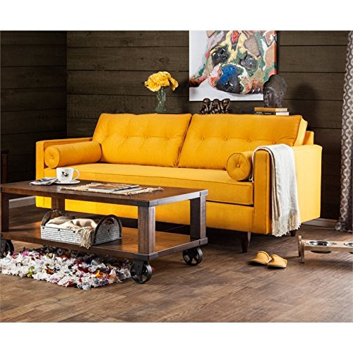 Furniture Of America Eckert Upholstered Sofa In Sunshine Gold Best Sofas Online Usa