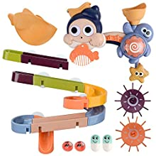 WORKER Baby Bath Toys, DIY Suction Cup Orbits Bath Toys for Toddlers 1-3, Swimming Bathtube Toys with Tub Spoon and Bowling, Baby Shower Toy Bath Time Toys for Kids