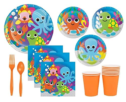 Ocean Theme Party Supplies For Baby Shower or Birthday Serves 10 Guests: Large Plates, Small Plates, Napkins, Cups & Premium Plasticware by FAKKOS Design -
