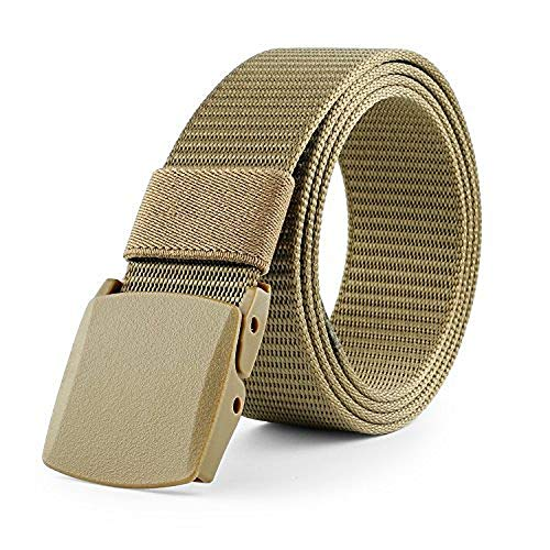 Tan Check Cord - JasGood Nylon Canvas Survival Military Tactical Style Emergency Fire Rescue Rigger Webbing Men Waist Belt With Plastic Buckle JA015_Khaki