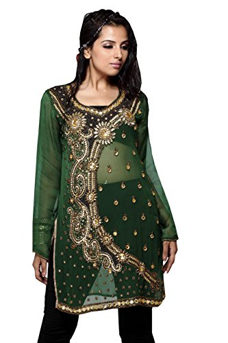 Fashion Sleeve Less Cotton Tunic Neck Button Work Top (m, Green) by Jayayamala