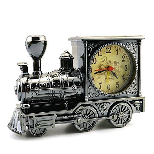 Mismxc Train Alarm Clock of Luxury Retro Style, Creative Artistic Train Desk Clock Model for Household Shelf Decorations(Grey)