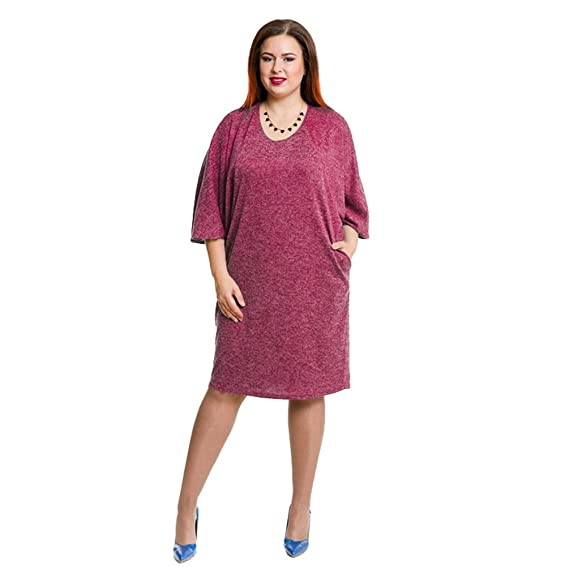 748e7a769cb6 LINNUO Damen Übergröße Kleider T-Shirt Kleid Einfarbig Casual Midi 1 2  Ärmel Blusenkleid
