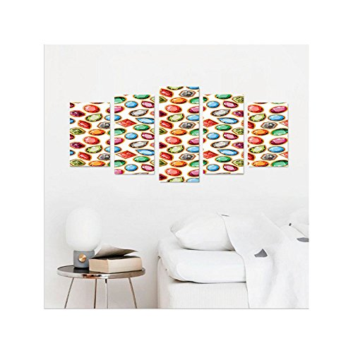 Liguo88 Custom canvas Diamond Decor Wall Hanging Diamond Patterns in Different Type of Forms Facets Square Oval Triangle Topaz Illustration Bedroom Living Room Decor Multi