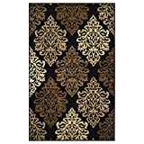 Superior Danvers Collection Area Rug, Modern Elegant Damask Pattern, 10mm Pile Height with Jute Backing, Affordable Contemporary Rugs – Black, 5′ x 8′ Rug For Sale
