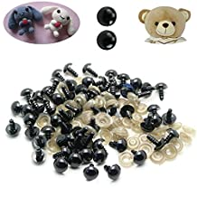 C-Pioneer 100pcs Black Plastic Safety Eyes with Washers for Teddy Bear Dolls Puppet Felting Crafts (6)