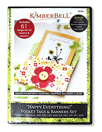 Kimberbell Happy Everything Pocket Tags & Banners Machine Embroidery CD KD541 -