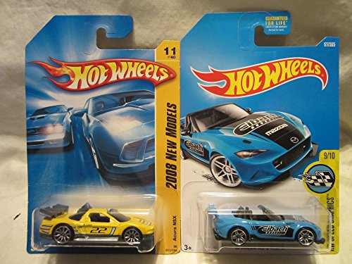 Hot Wheels 2008 New Models Acura NSX & HW Speed Graphics '15 Mazda MX-5 Miata Die Cast 1/64 Scale 2 Car (New Mx Graphics)